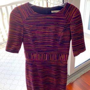 Trina Turk dress size 2 purple blue beige stripe